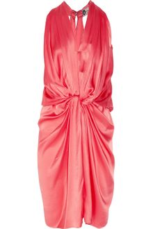 Lanvin Knotted Draped Silk-satin Dress - Lyst