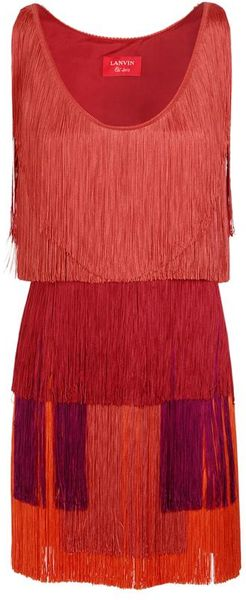 Lanvin Tiered Fringed Silk Satin Dress - Lyst