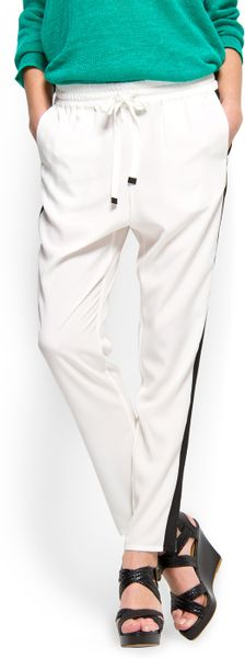Mango Loosefit Trouser in White (10) - Lyst