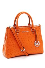 Michael by Michael Kors Medium Bedford Ostrich Embossed Dressy Tote - Lyst