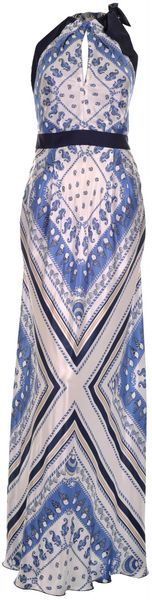 Philosophy Di Alberta Ferretti Printed Satintwill Maxi Dress in Blue (navy) - Lyst