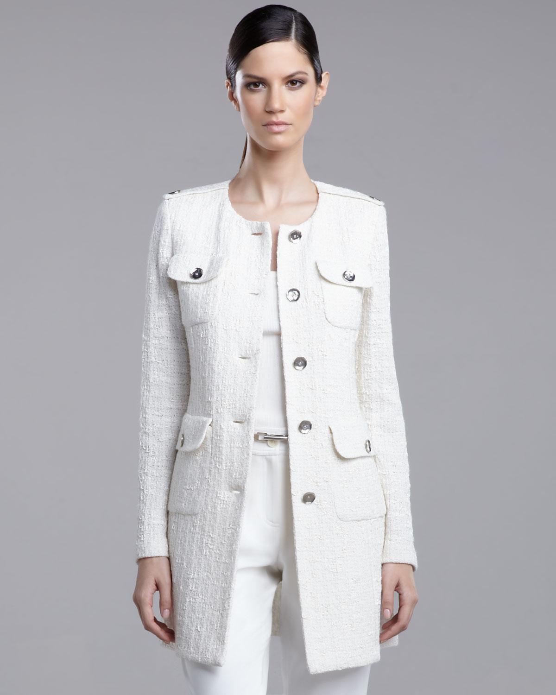 St. john Long Tweed Jacket in Natural   Lyst
