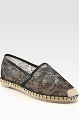 Valentino Semisheer Lace and Leather Espadrille Loafers in Black - Lyst