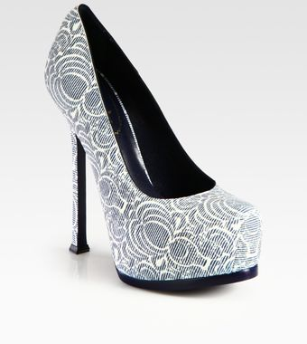 Yves Saint Laurent Printed Leather Platform Pumps - Lyst