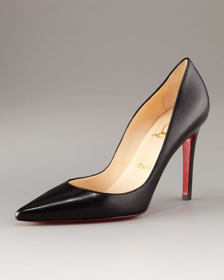 Christian Louboutin PointedToe Black Leather Pump in Black - Lyst