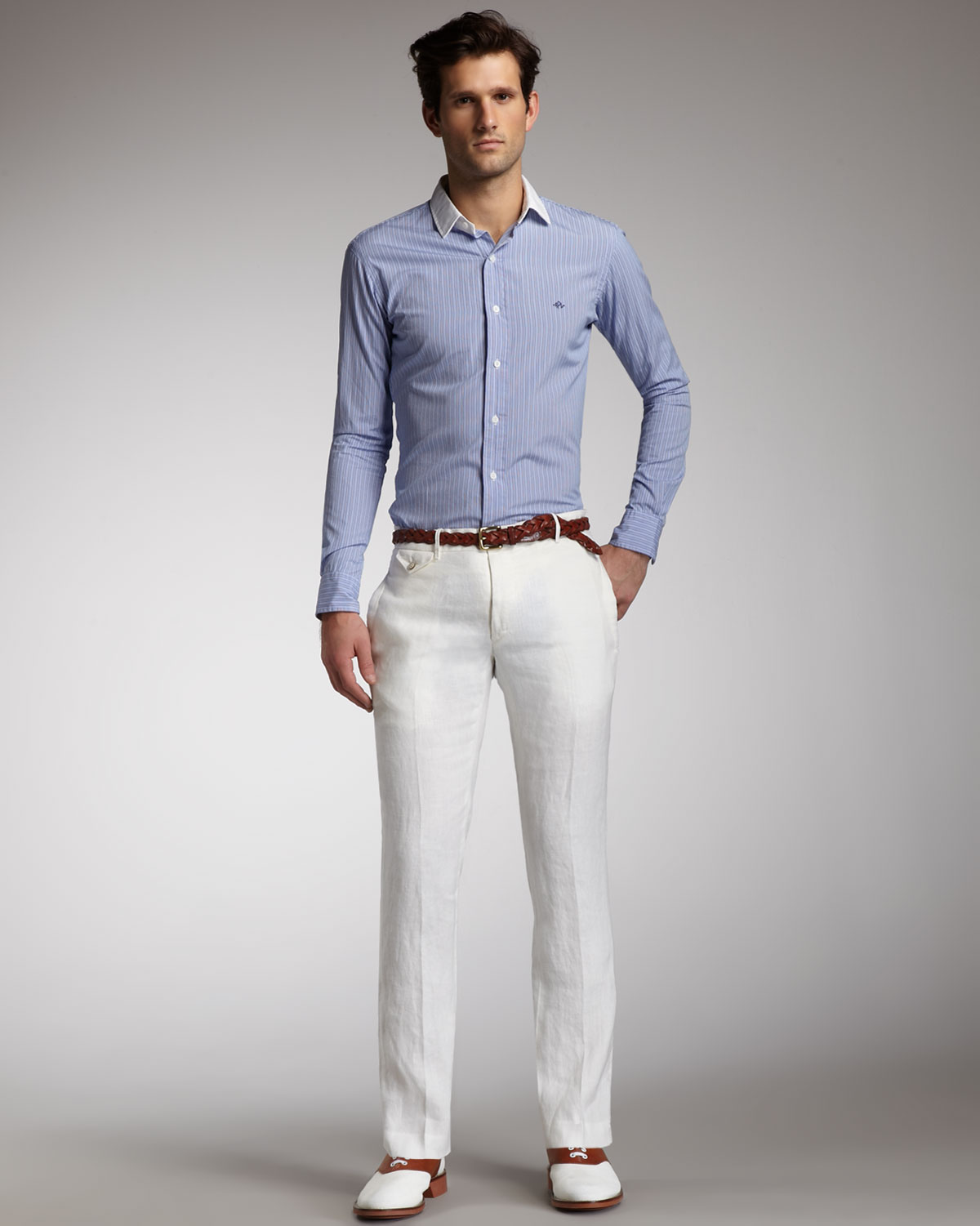 Polo ralph lauren Carrington Linen Pants in White for Men | Lyst