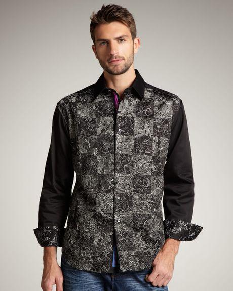 Robert graham ellis embroidered sport shirt in black for for Robert graham sport shirt