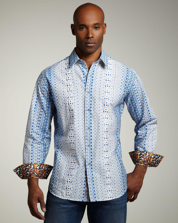 Robert graham sentosa sport shirt in blue for men lyst for Robert graham sport shirt