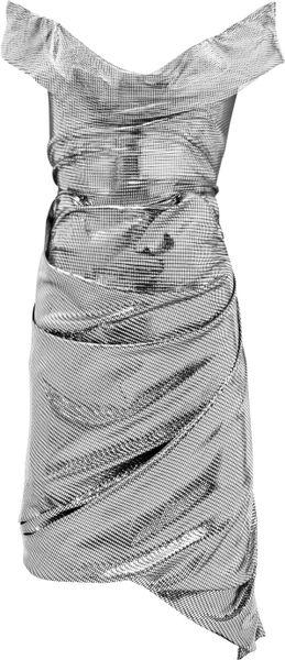 Vivienne Westwood Red Label Asymmetric Metallic Jersey Dress in Silver
