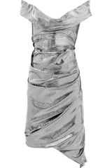 Vivienne Westwood Red Label Asymmetric Metallic Jersey Dress in Silver - Lyst