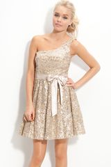 Way-in One Shoulder Sequin Sash Dress - Lyst