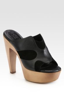 Alexander McQueen Leather and Suede Platform Clogs - Lyst