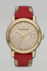 Burberry Round Check Watch - Lyst