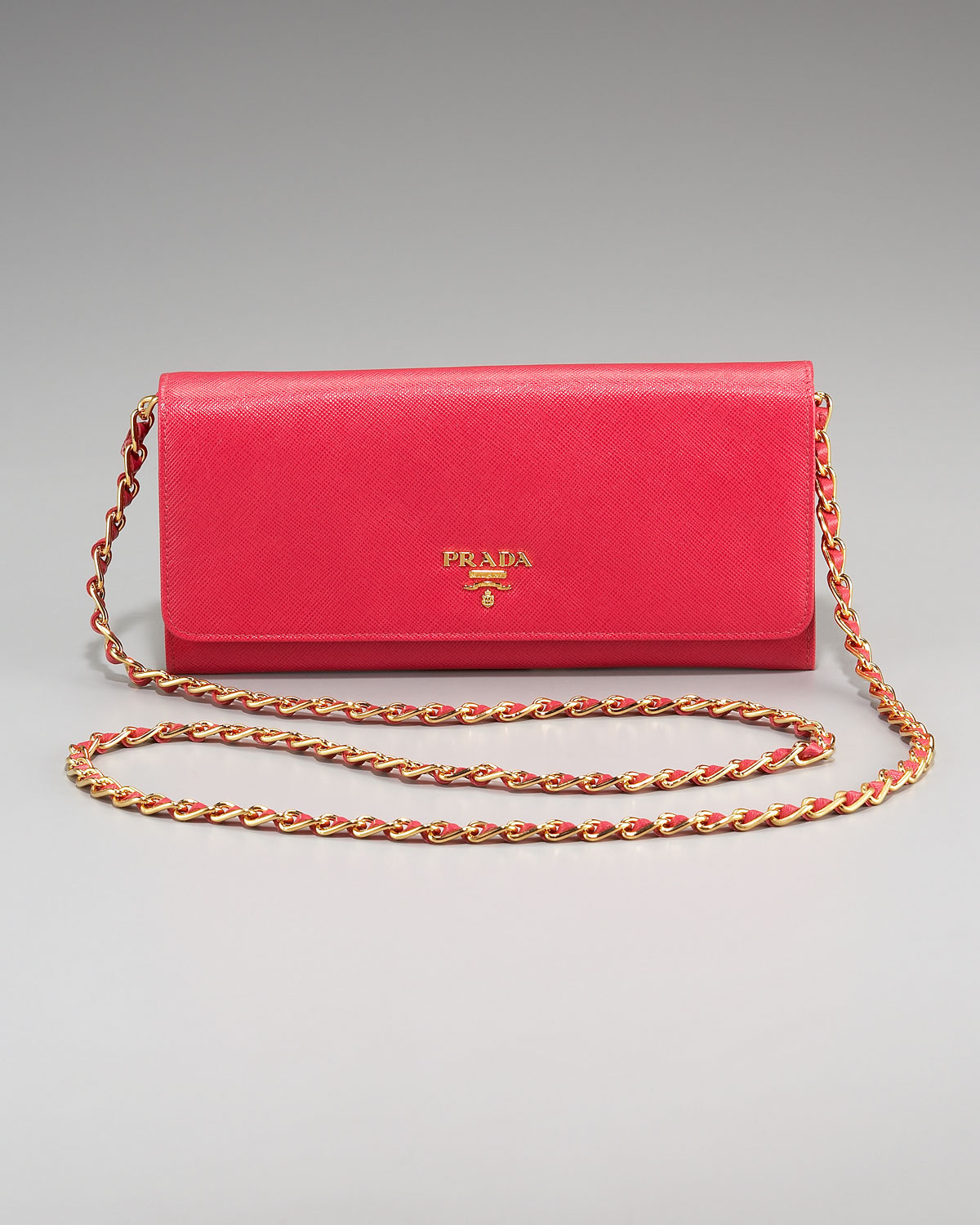 3cdf05c44614 coupon code for lyst prada saffiano chain crossbody wallet in red 85ec1  3aa14