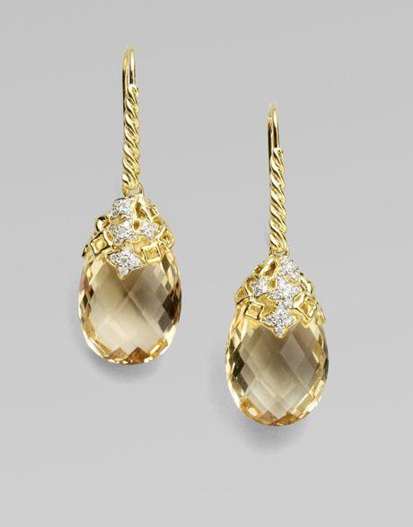 David Yurman Diamond, Citrine & 18k Yellow Gold Earrings in Gold