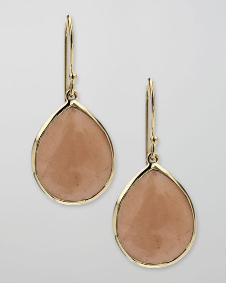 Ippolita Peach Moonstone Teardrop Earrings in Gold - Lyst