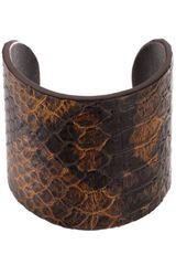 Michael Kors Embossed Snake Leather Cuff Bracelet - Lyst