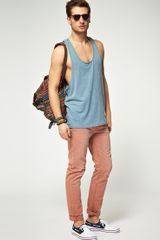 Asos Vest With Extreme Racer Back in Blue for Men (bluemarl) - Lyst