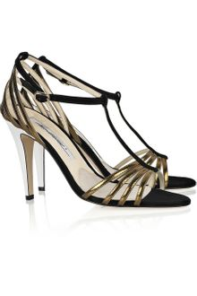 Brian Atwood Suede and Leather Sandals - Lyst