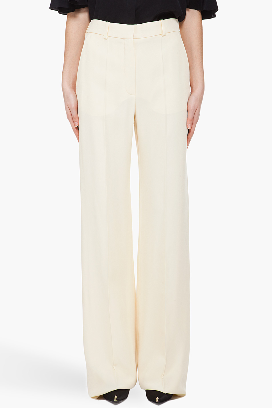 Chloé Wide Leg Crepe Pants in Natural | Lyst