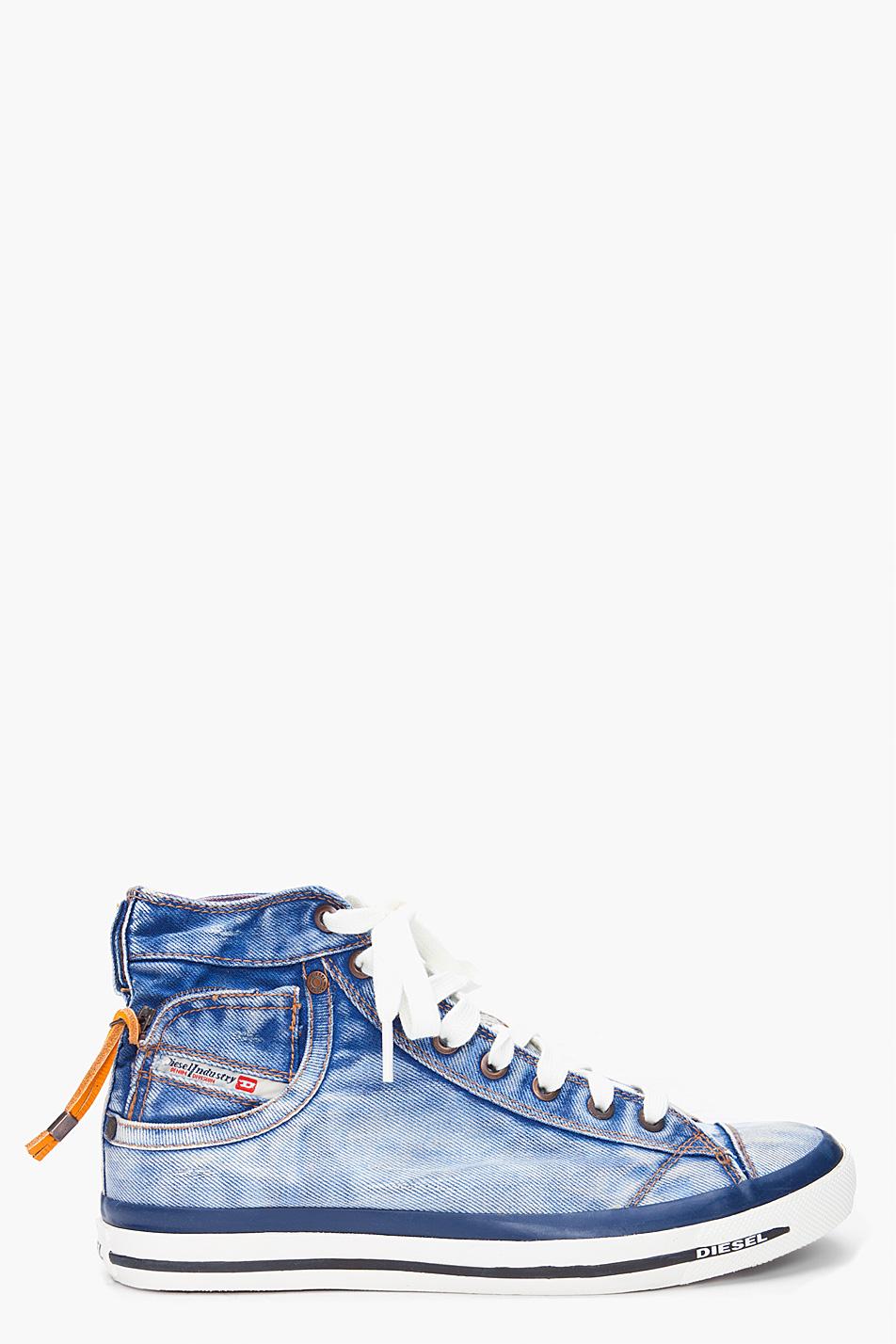 Lyst Diesel High Denim Expoiak Sneakers In Blue For Men