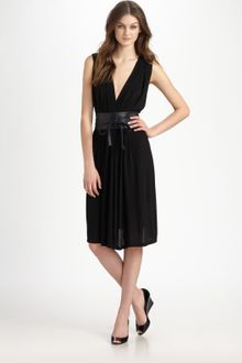 DKNY Plunging V-neck Dress - Lyst