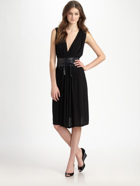 Dkny Plunging Vneck Dress in Black - Lyst