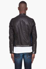 Dsquared2 Studded Leather Biker Jacket in Black for Men - Lyst