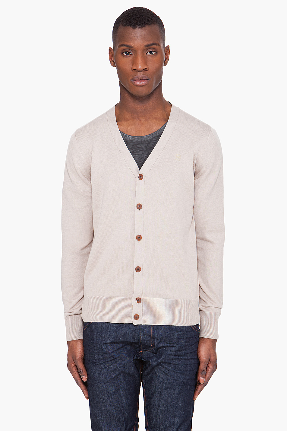 g star raw amos knit cardigan in khaki for men lyst. Black Bedroom Furniture Sets. Home Design Ideas