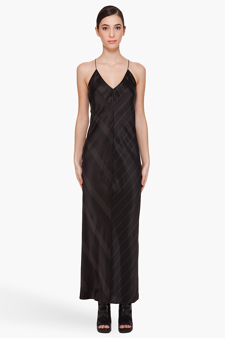 T by alexander wang Striped Silk Slip Dress in Black | Lyst