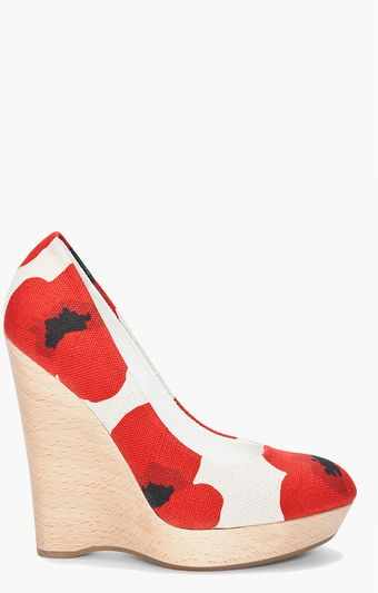 Yves Saint Laurent Maryna Flower Print Wedges - Lyst