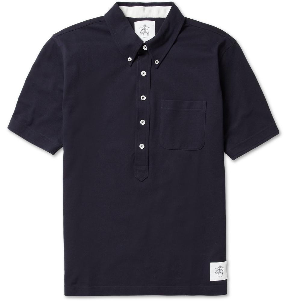 Black Fleece Button Down Cotton Piqu Polo Shirt In Blue