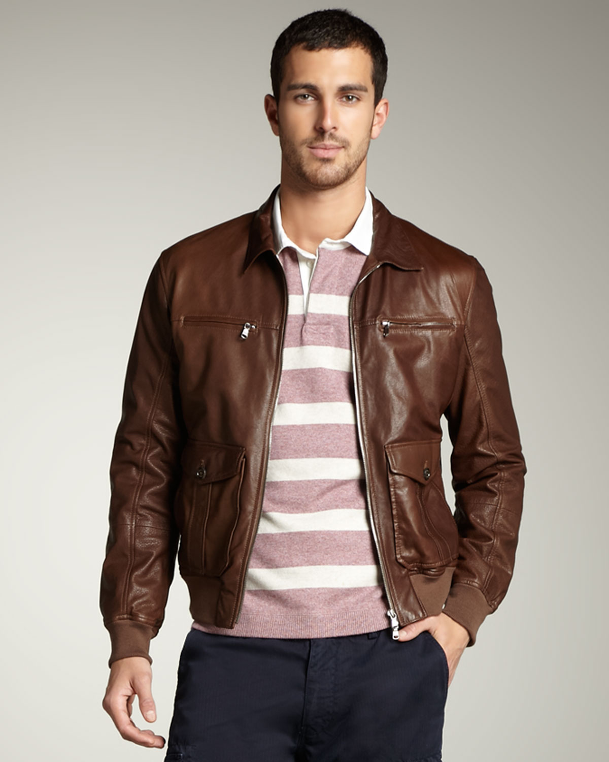 Brunello Cucinelli Leather Bomber Jacket in Brown for Men ...