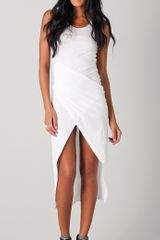 David Lerner Draped Asymmetrical Dress in White - Lyst