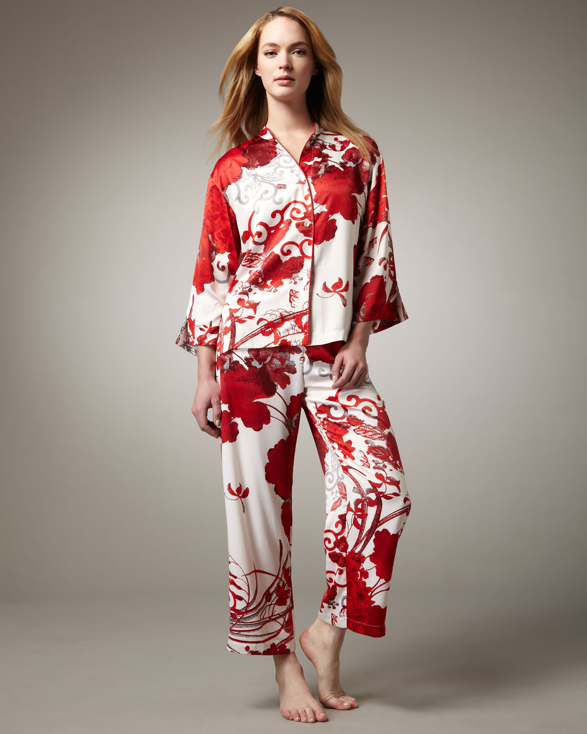 Natori Miko Floral-print Charmeuse Pajamas in Red | Lyst