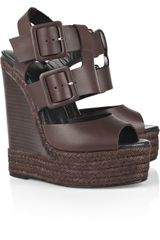 Pierre Hardy Buckled Leather Wedge Sandals - Lyst