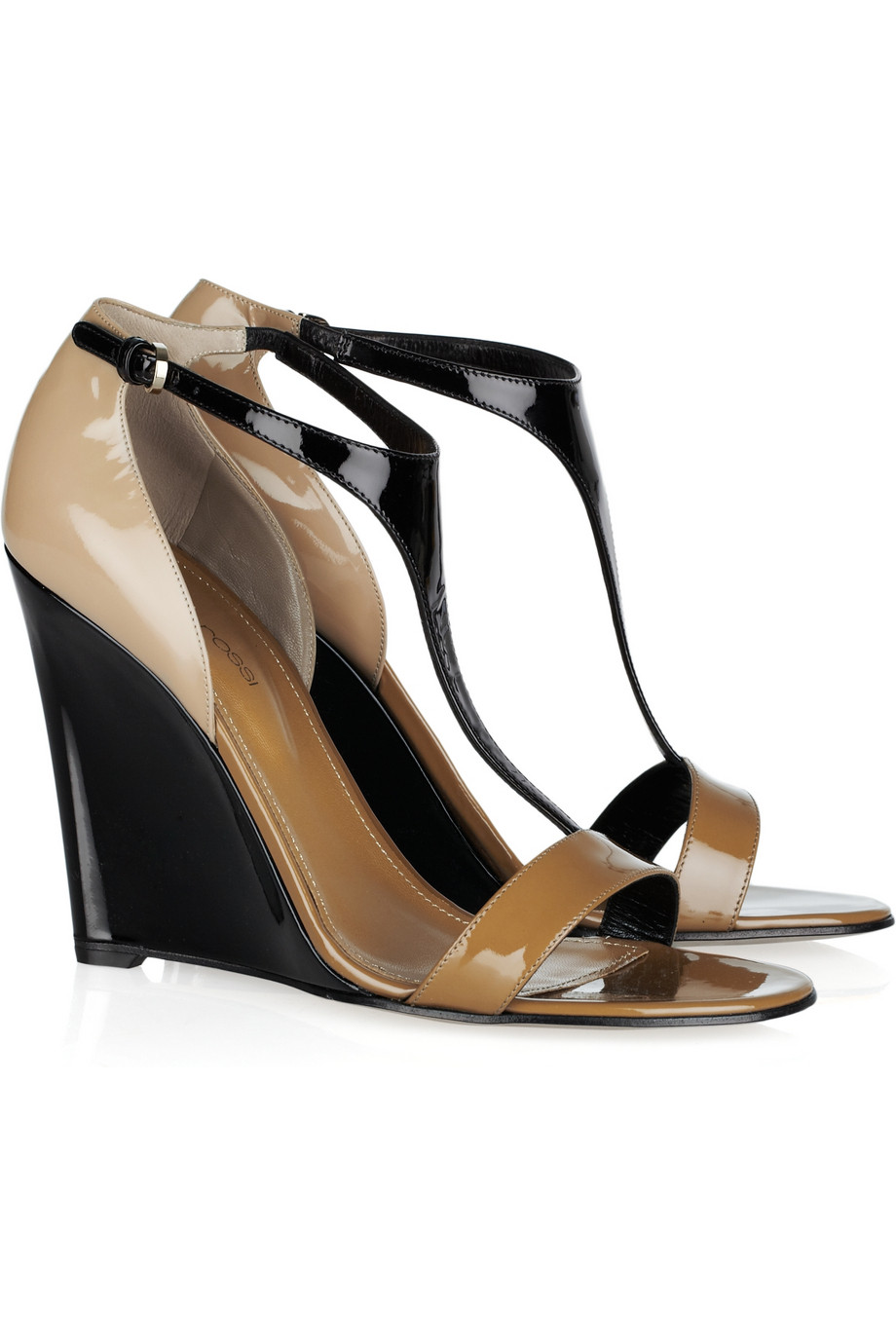 sergio color blocked patent leather wedge sandals in
