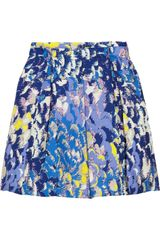 Tibi Pleated Printed Silk Skirt - Lyst