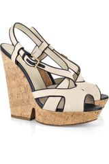 Yves Saint Laurent Deauville Canvas Wedge Sandals - Lyst