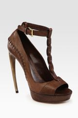 Alexander McQueen Leather Tstrap Hornheel Platform Pumps
