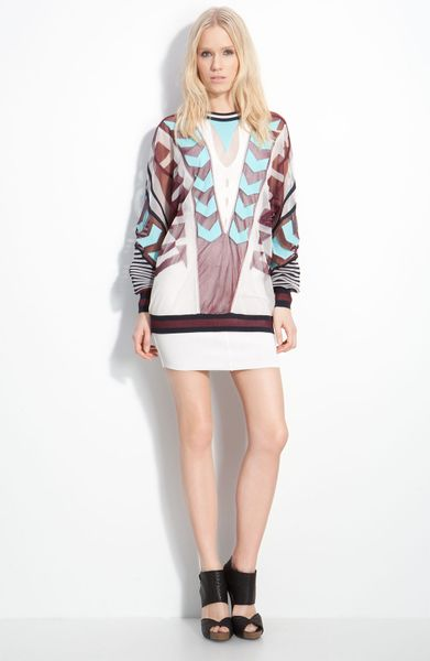 Alexander Wang Engineered Intarsia Top in Multicolor (berry & aqua) - Lyst