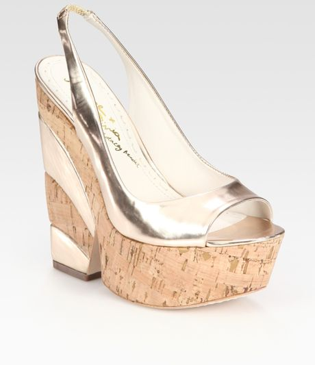 Alice + Olivia Metallic Leather Slingback Cork Wedge Sandals in Gold - Lyst