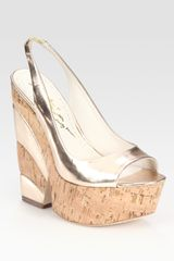 Alice + Olivia Metallic Leather Slingback Cork Wedge Sandals