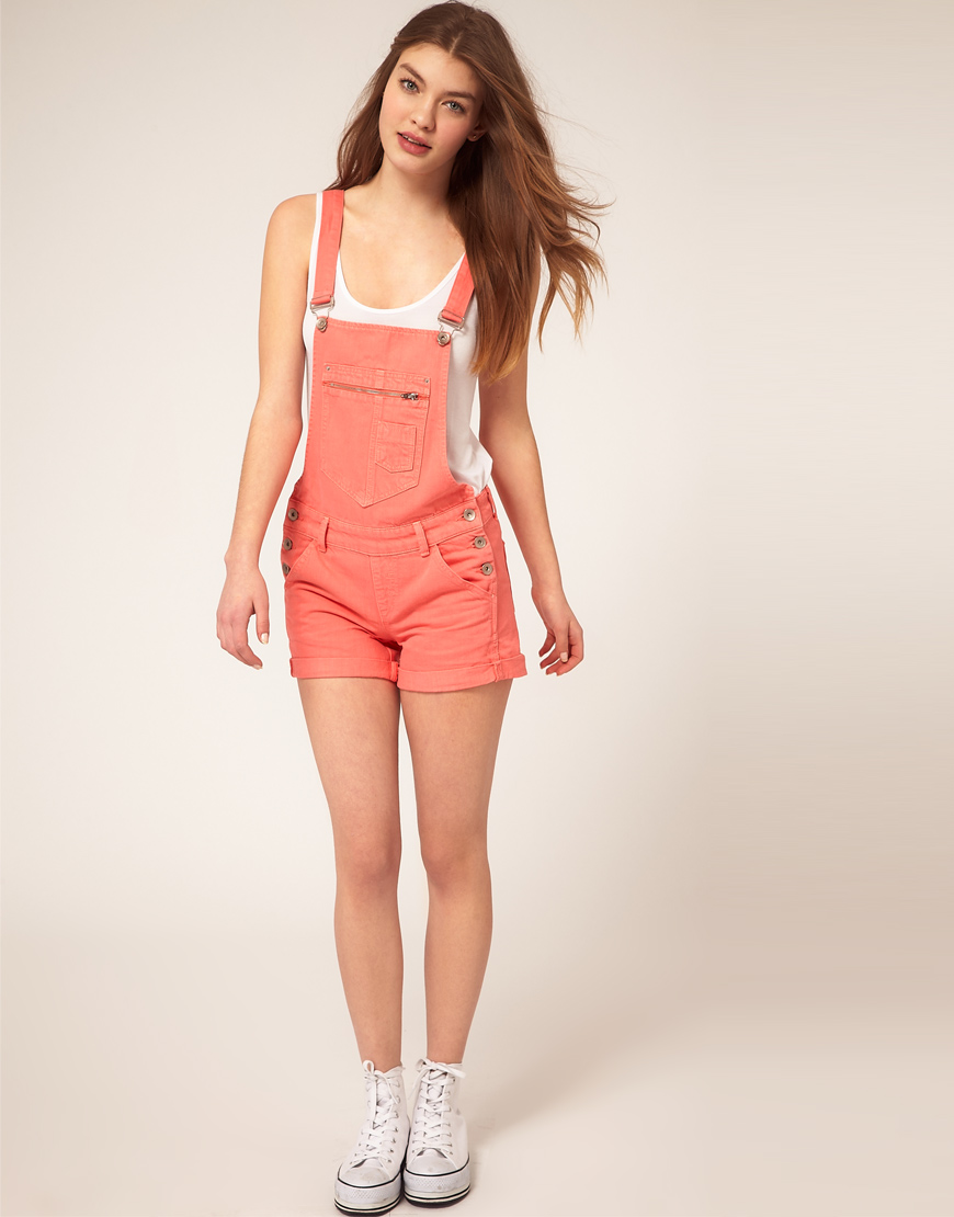 Asos collection Asos Denim Dungaree Shorts in Peach Red in Orange ...