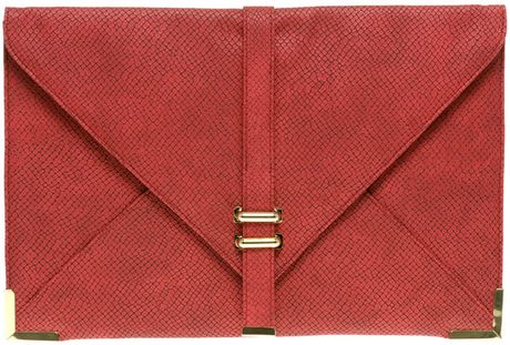 Asos Collection Slot Through Envelope Clutch in Red (redsnake) - Lyst