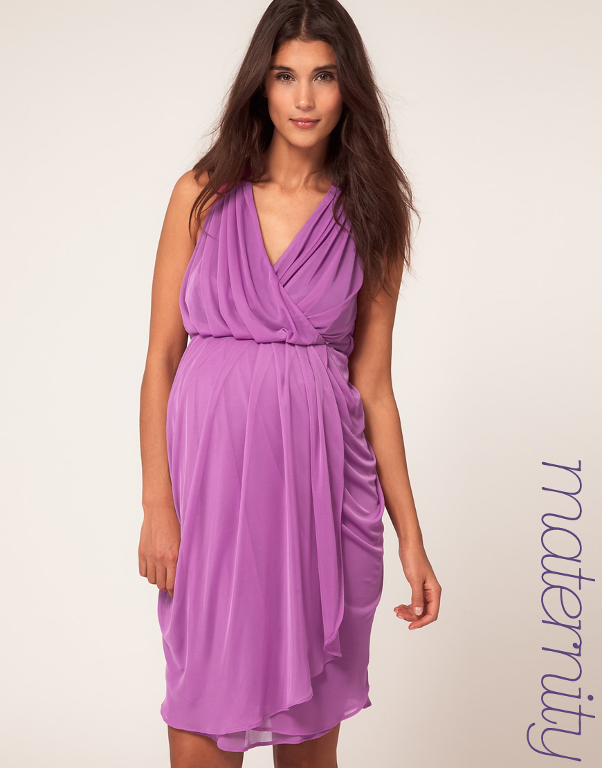 Asos maternity wrap dress with tulip skirt in purple lyst gallery womens tulip dresses ombrellifo Choice Image