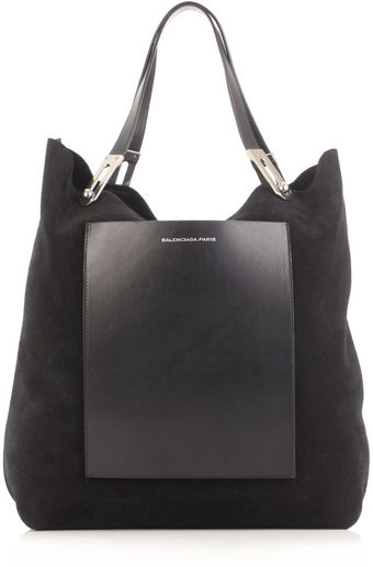 Balenciaga Cross Suede And Leather Bag - Lyst