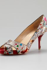 Christian Louboutin Shelley Multicolor Python Pump - Lyst