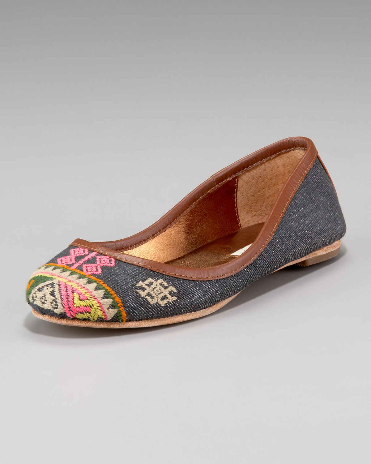 Lyst Cynthia Vincent Embroidered Denim Ballet Flat In Blue