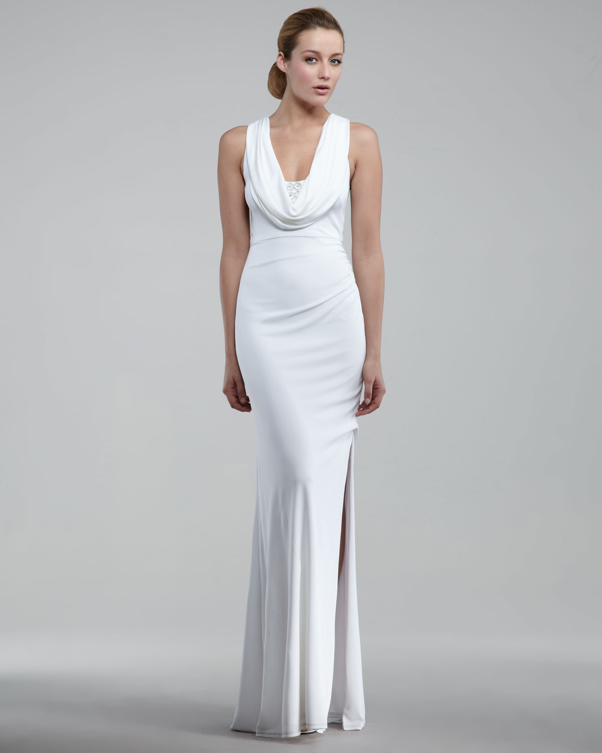 Cowl Neck Back Wedding Dresses: David Meister Cowl-neck Gown In White
